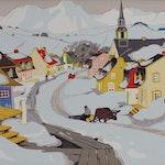 Village in the Laurentians by Clarence Gagnon Sampson-Matthews Silkscreen - (19.5x28.5 in)