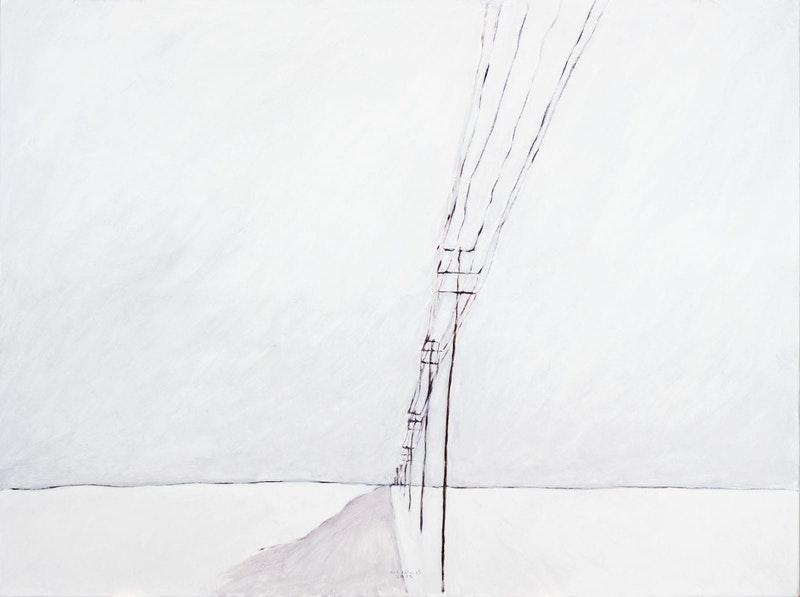 Winter Road with Poles Image 1