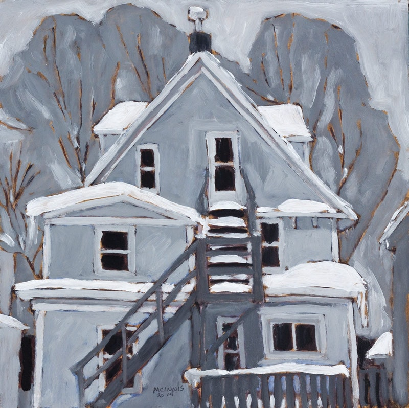 Grey House in Winter Image 1