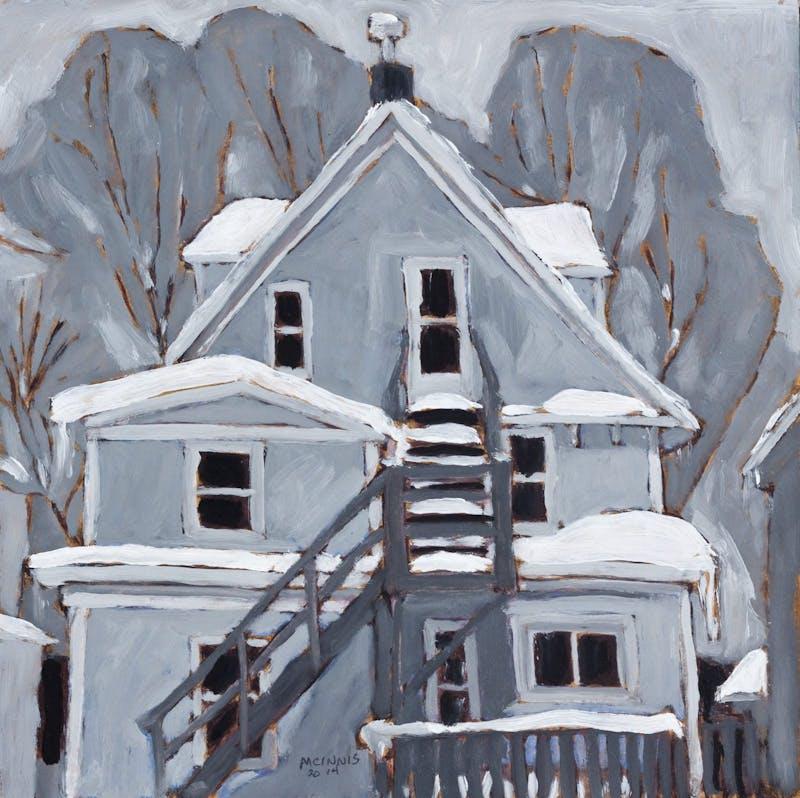 Grey House in Winter
