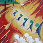 Untitled by Jock MacDonald, circa 1936 Oil on Panel - (14.75x12 in)