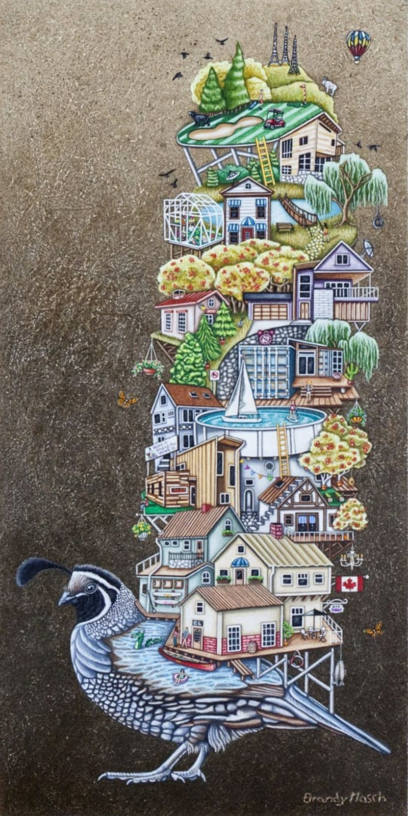 Quailowna by Brandy Masch, 2015 Mixed Media - (20x10 in)