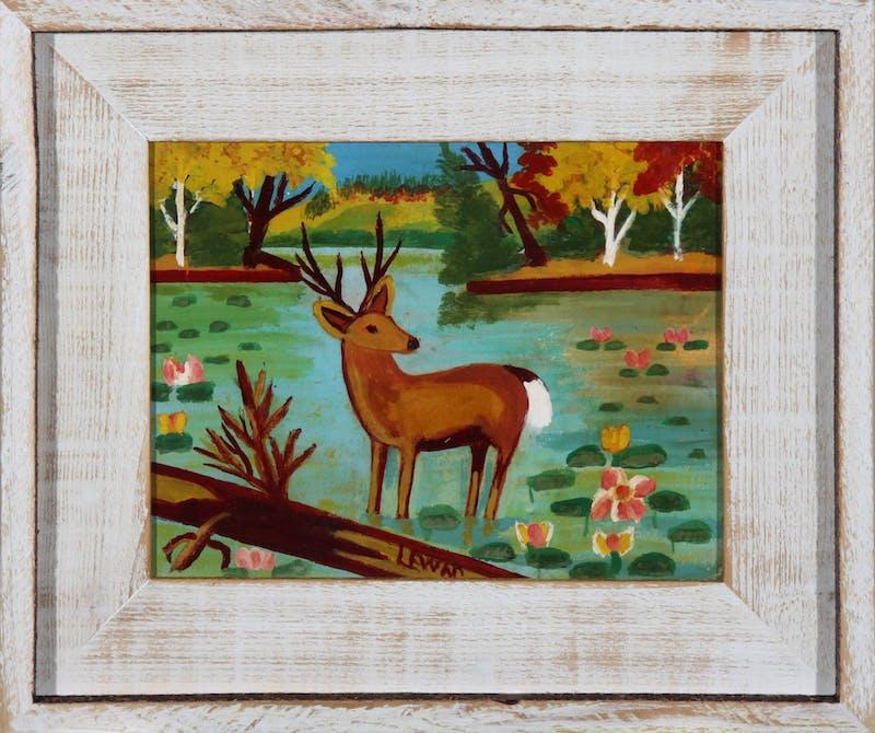 Deer Standing in the Water, (Buck among Waterlilies) Image 1