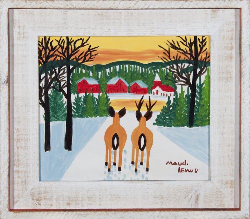 Deer Overlooking Village (Deer Pair and Village at Sunset) Image 1