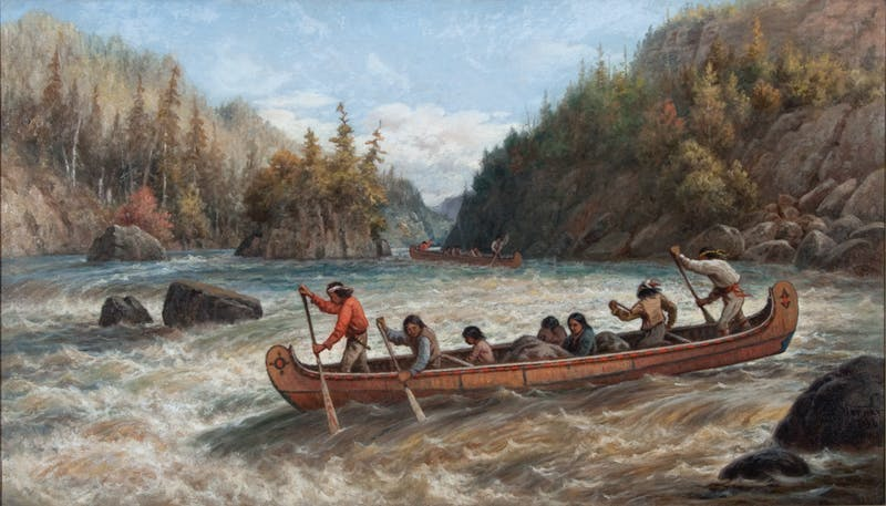 Indians Shooting the Rapids Image 1