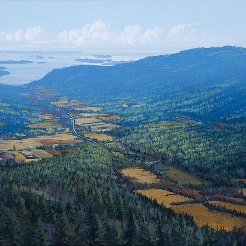 Fulford Valley, Salt Spring Island, B.C. by Randolph Parker, 2016 Acrylic on Canvas - (14x25 in)
