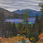 Above Cowichan Bay by Edward John Hughes, 1962 oil on canvas - (25x32 in)