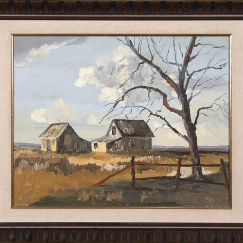 At Green Oak by Robert Kost, circa 1967 Oil on Canvas - (16x20 in)