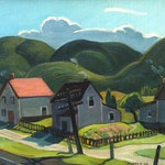 North Shore Village by George Pepper oil on panel - (12.5x14.5 in)