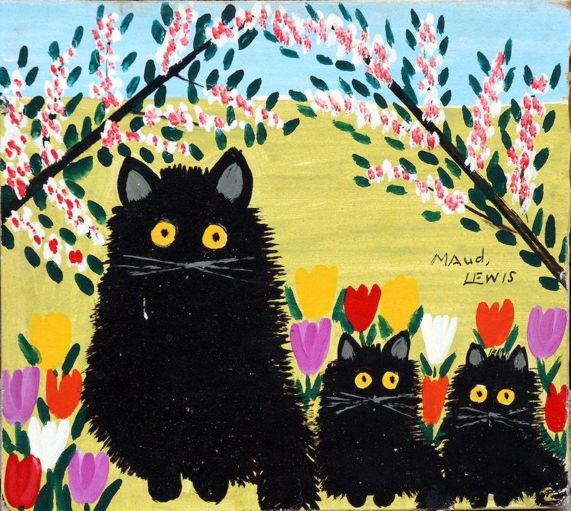 Black Cat, Two Kittens Image 1