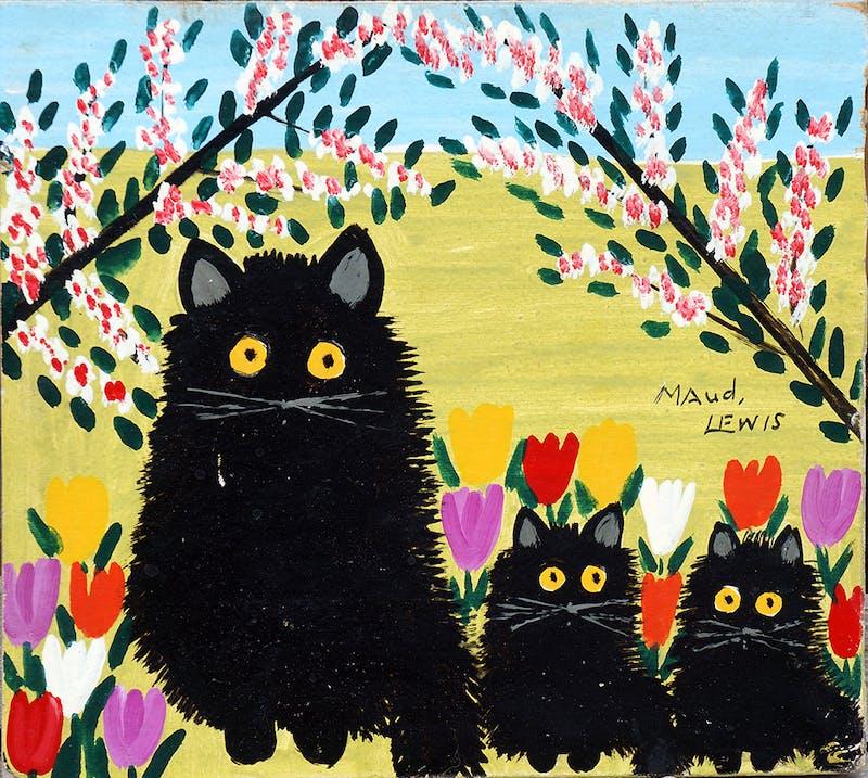 Black Cat, Two Kittens