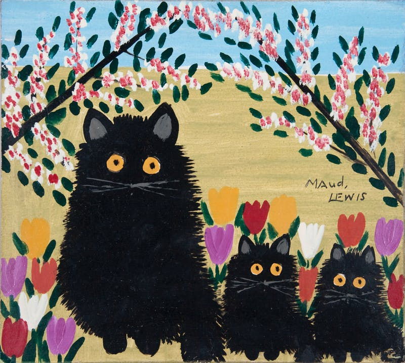 Black Cat, Two Kittens Image 2