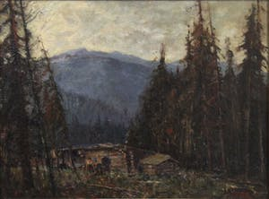 Untitled (Cabin in Mountain Landscape)