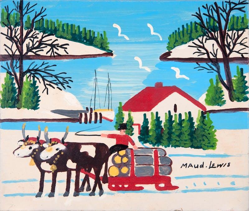 Oxen Hauling Logs Near Harbour Image 1