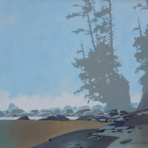 Sea Stack Pattern- Dare Beach on the West Coast Trail by Robert Genn, 1996 acrylic on canvas - (30x34 in)