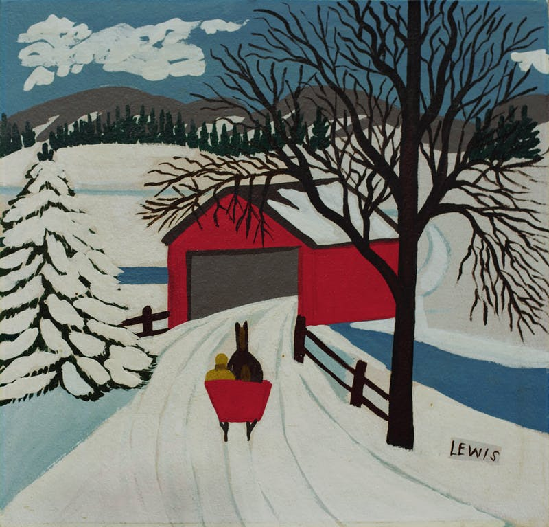 Covered Bridge and Winter Sleigh Image 1