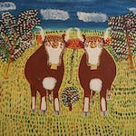 Two Oxen by Everett Lewis oil on panel - (12x14 in)