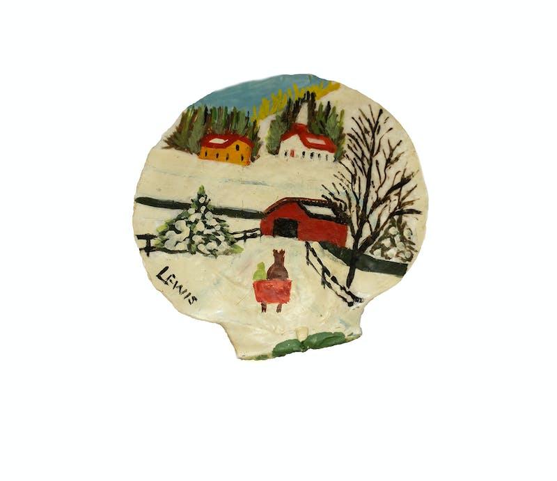 Clam Shell 3- Winter scene covered bridge Image 3