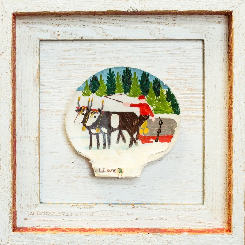 Clam Shell 4-Two oxen sleigh