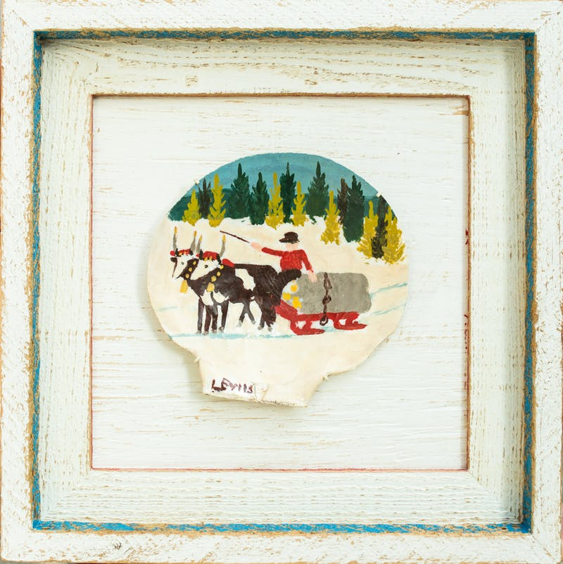 Clam Shell 1-Two oxen and sleigh