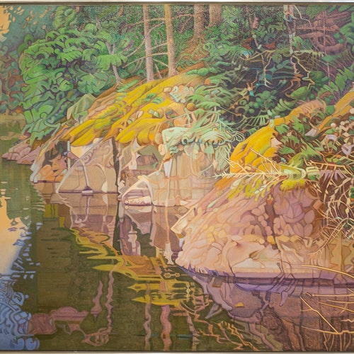 Shoreline Lake of the Woods by Luther Pokrant, 1997 Oil on Canvas - (48.75x79.75 in)