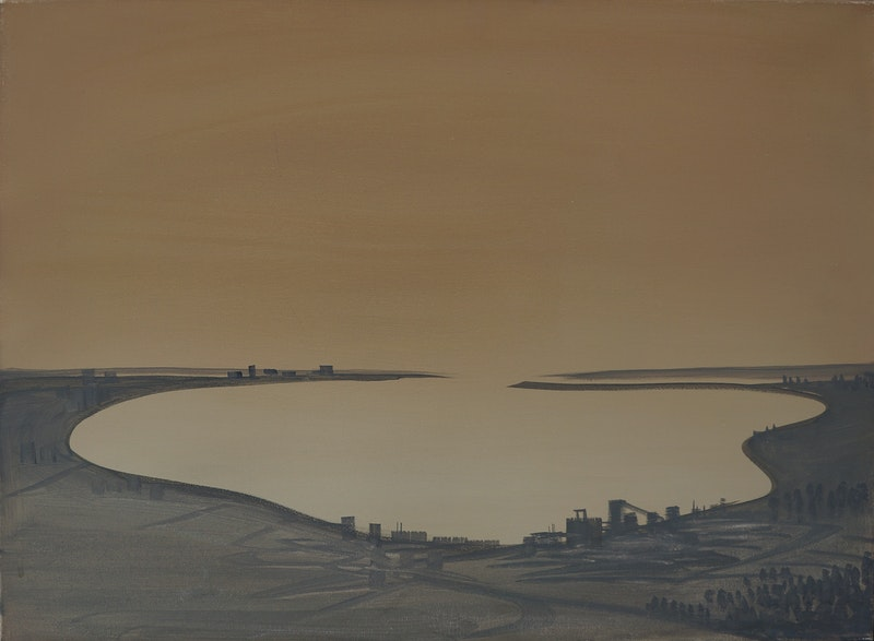 Untitled (taupe green - grey bay)