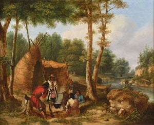 Indian Encampment by a River