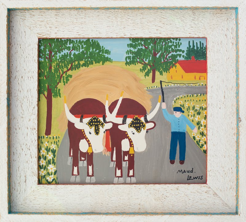 Oxen Hauling Hay