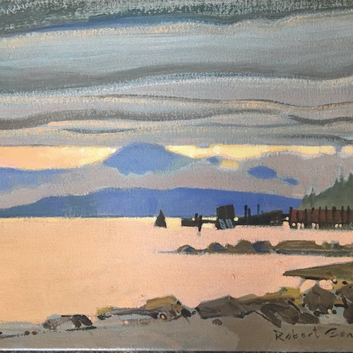 Waiting for the Ferry, N Pender Island, BC by Robert Genn, 1992 Acrylic on Canvas - (11x14 in)