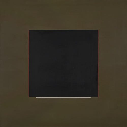 Composition with Black Square by Annemarie Entz, circa 1973 Oil on Canvas - (30x30 in)