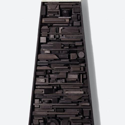 The Elements, Assemblage #1 by Djuna Day, 2018 ebonized wood blocks, oil - (50x18x3 in)