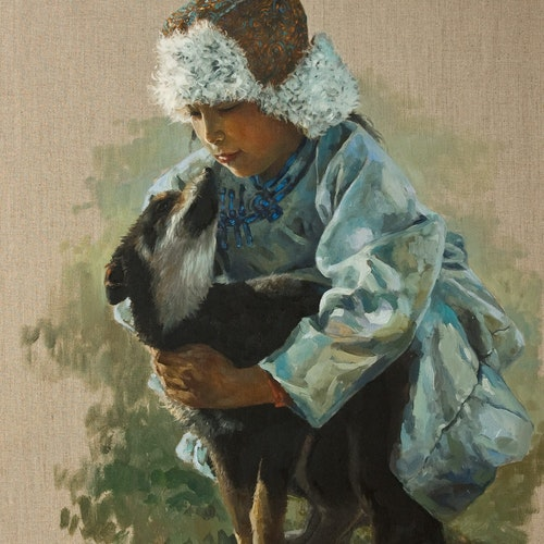 Young Guardian by Donna Zhang, 2018 Oil - (30x24 in)