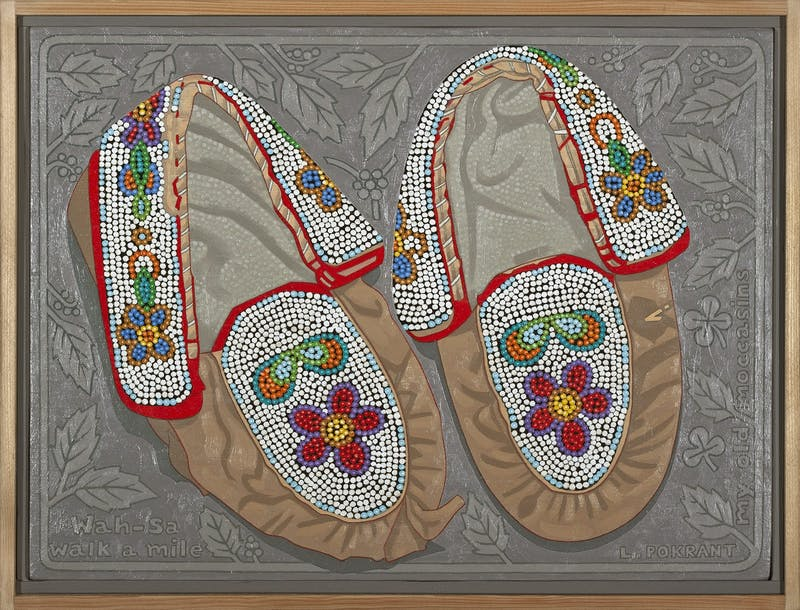 My Old Moccasins by Luther Pokrant, circa 2018 Oil on Panel - (12x16 in)