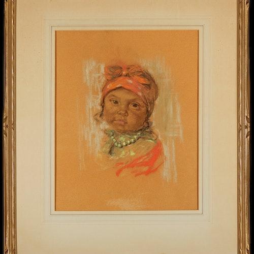 Papoose by Nicholas de Grandmaison, 1938 Pastel on Paper - (15.5x12.5 in)