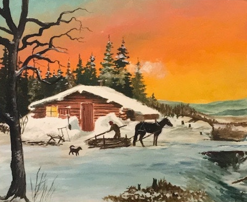 Winter firewood scene Image 1