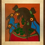Untitled figure with birds by Norval Morrisseau, circa 1975 Oil on Panel - (30.5x28.25 in)