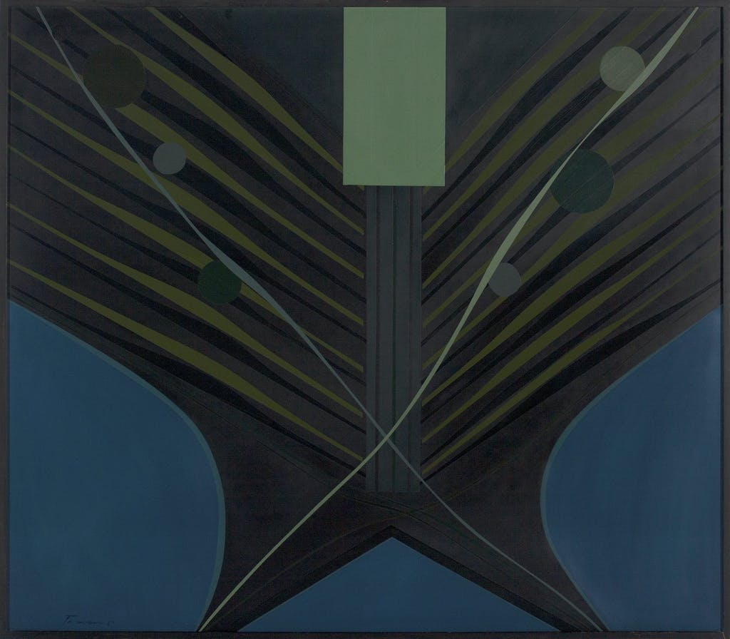 Converging Cycle by Tony Tascona, 1967 Lacquer on Canvas - (42 1/2x48 3/4 in)
