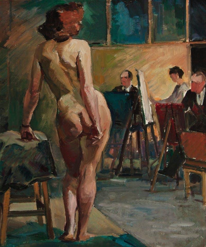 Nude Model in Art Class Image 1