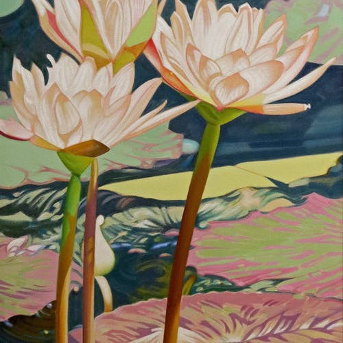 Lily Ballet by Luther Pokrant, 1993 Oil on Canvas - (48x24 in)