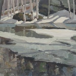 Spring Ice by Tom Roberts, 1943 Oil on Board - (11.5x19.5 in)