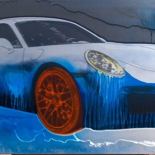 Porsche 911 Turbo S by Rand Heidinger, 2014 Lacquer Paint on Polymer - (24x60 in)