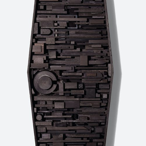 The Elements, Assemblage #2 by Djuna Day, 2018 ebonized wood blocks, oil - (48x18x3 in)