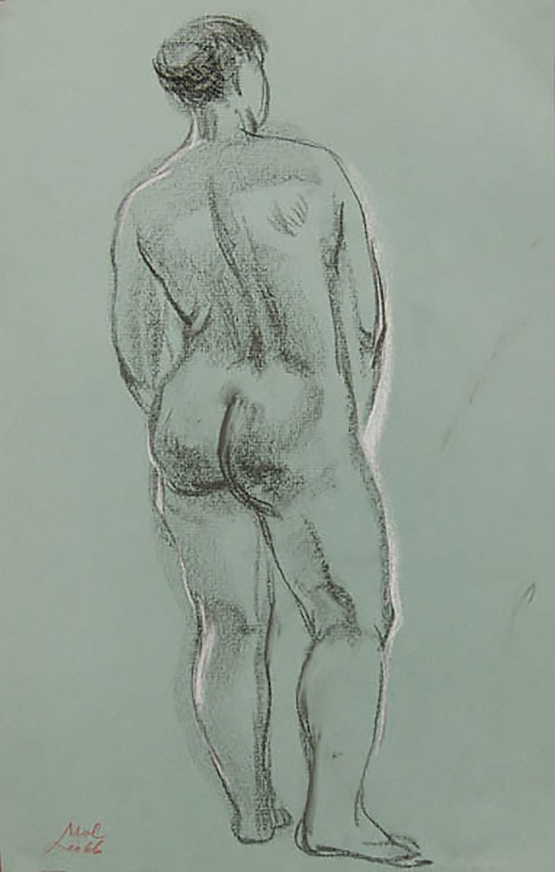 Womanhood II by Leo Mol, 1966 Conte Crayon on Paper - (17.25x10.75 in)