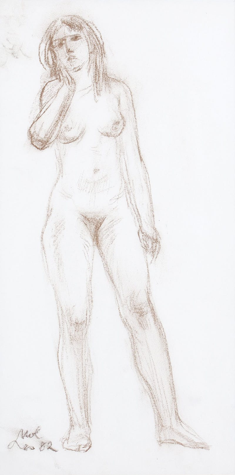 Recollection by Leo Mol, 1982 Conte Crayon on Paper - (16x8 in)