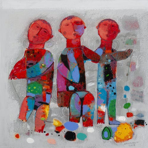 Friendship by Hashim Hannoon, 2019 Acrylic on Board - (16x16 in)
