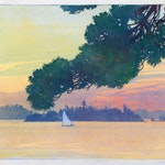 Sunset Lake of the Woods by Walter Joseph Phillips, 1919 Woodblock - (9.25x12 in)