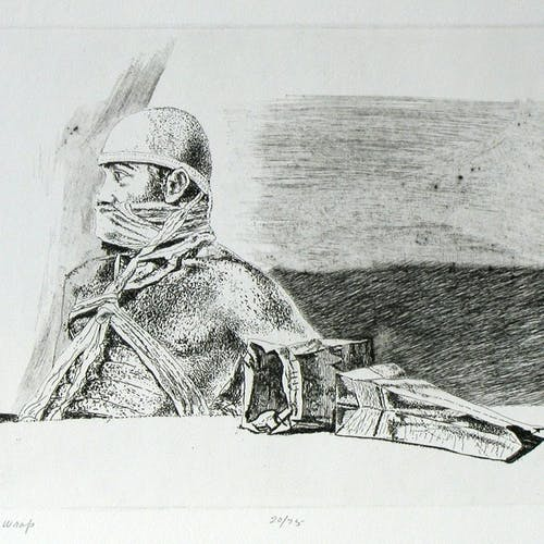 Beard Wrap 20/75 by Ivan Eyre Etching on Paper - (9.5x12 inch)