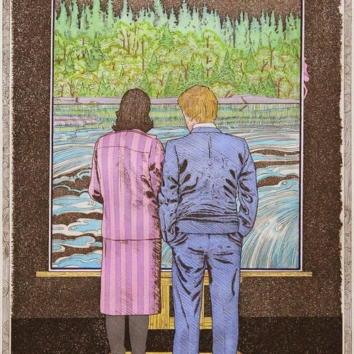 Looking At A Godwin 14/30 by Luther Pokrant, 1983 Mixed Media - (18x11 in)