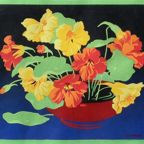 Untitled (Nasturtiums) by Alfred Joseph Casson Silkscreen on Paper - (9x10.75 in)