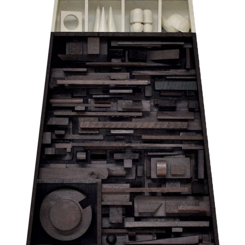 The Genius is the Synthesis, Assemblage #1 by Djuna Day, 2018 ebonized wood blocks, oil - (18x24x3 in)